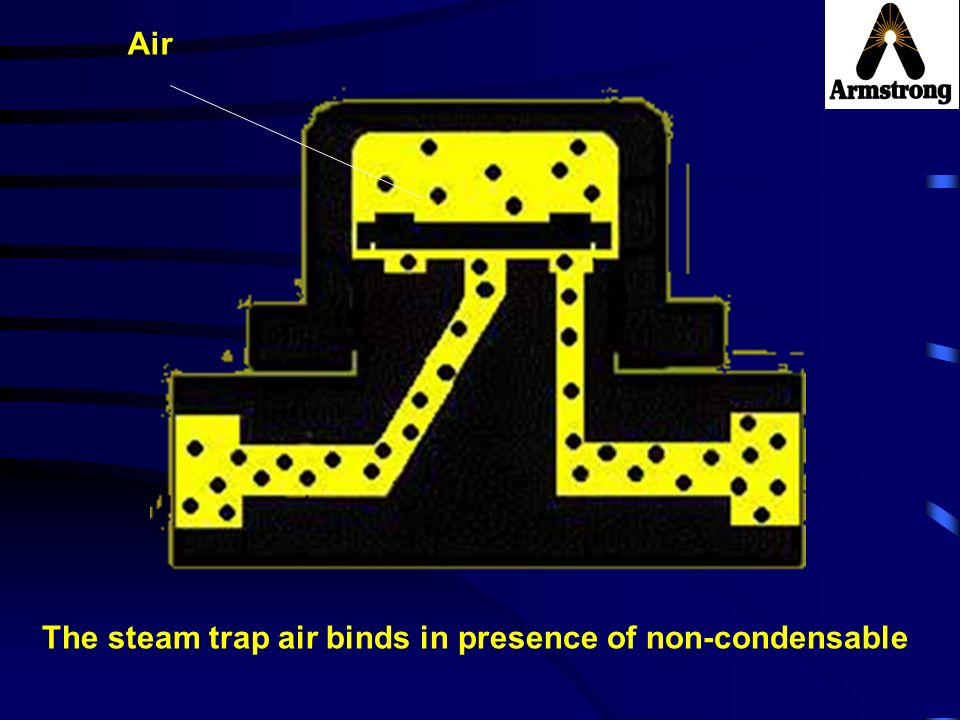 Air The steam trap air binds in presence of non-condensable