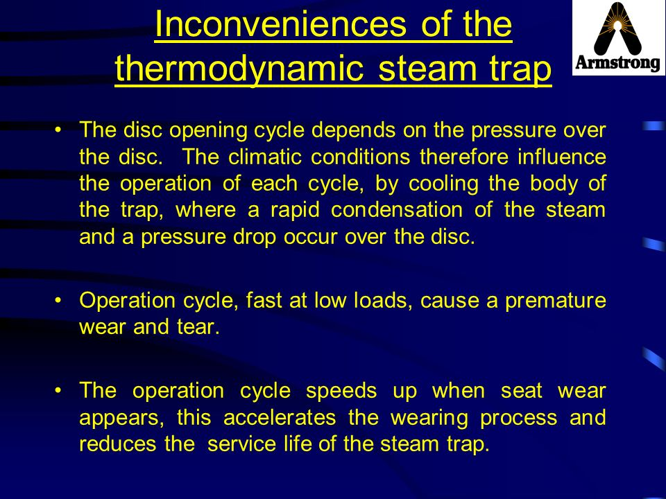 Inconveniences of the thermodynamic steam trap