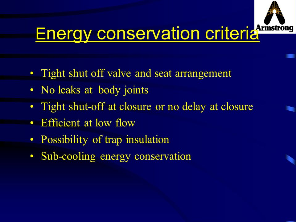 Energy conservation criteria