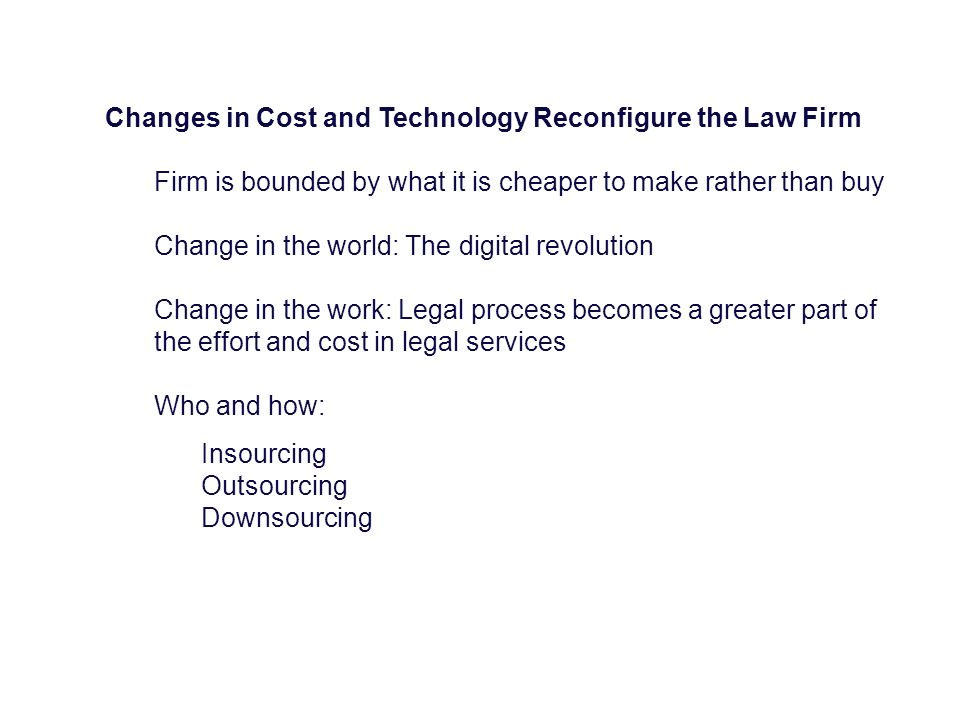 Changes in Cost and Technology Reconfigure the Law Firm