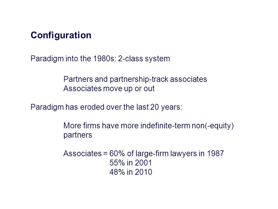 Configuration Paradigm into the 1980s: 2-class system