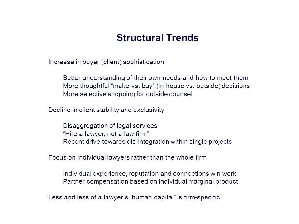 Structural Trends Increase in buyer (client) sophistication