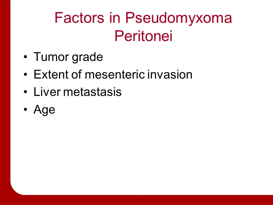 Factors in Pseudomyxoma Peritonei