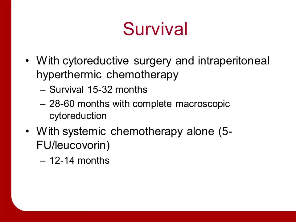 Survival With cytoreductive surgery and intraperitoneal hyperthermic chemotherapy. Survival months.