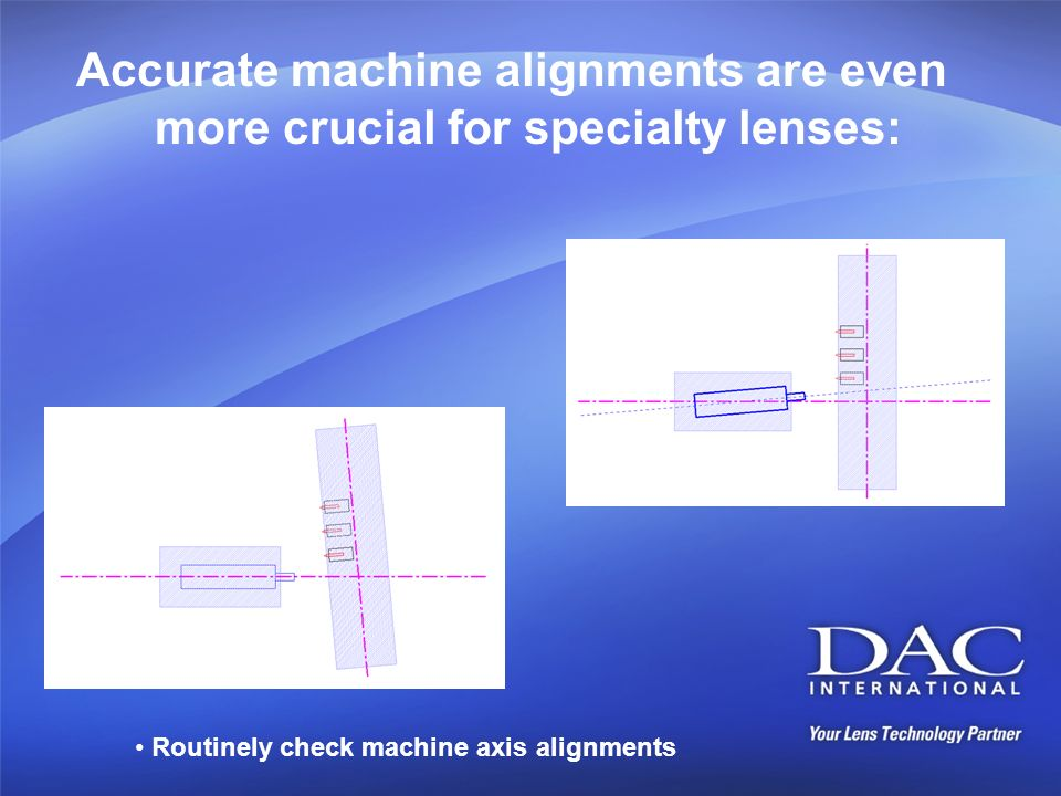 Accurate machine alignments are even more crucial for specialty lenses: