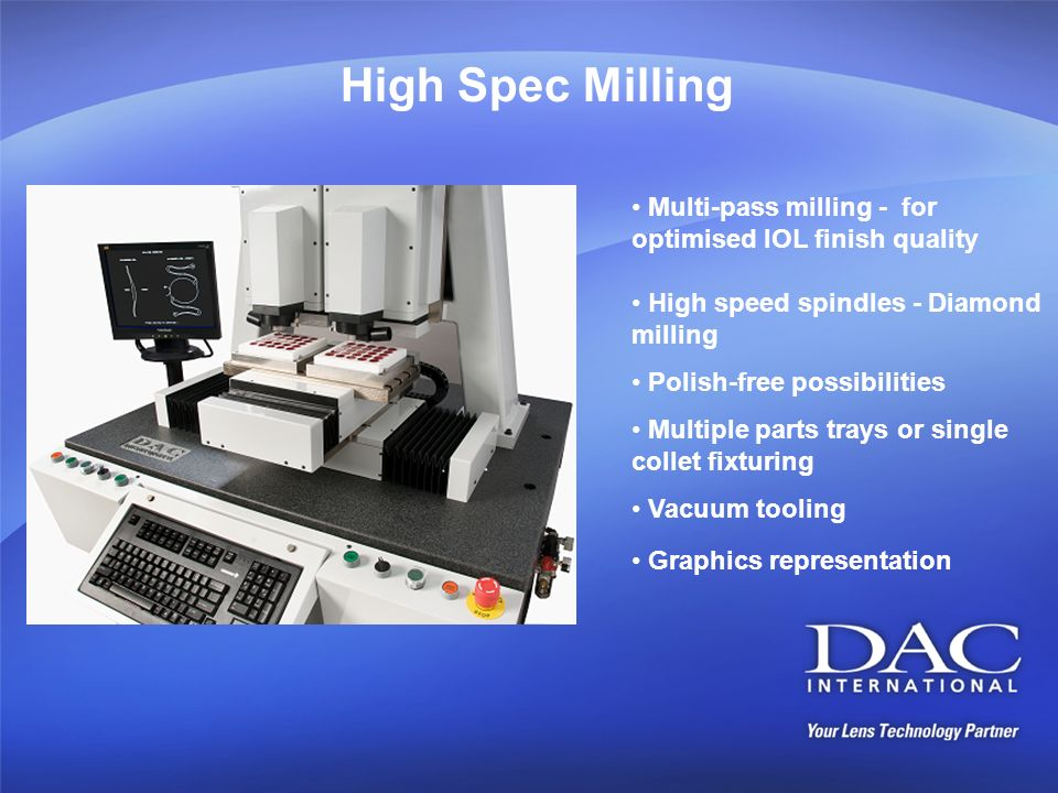 High Spec Milling Multi-pass milling - for