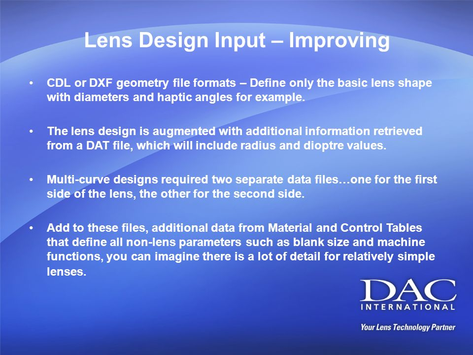 Lens Design Input – Improving