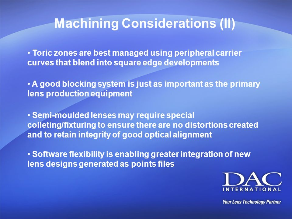 Machining Considerations (II)
