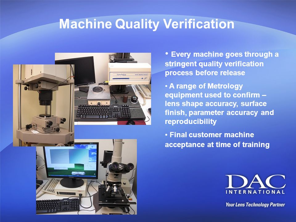 Machine Quality Verification