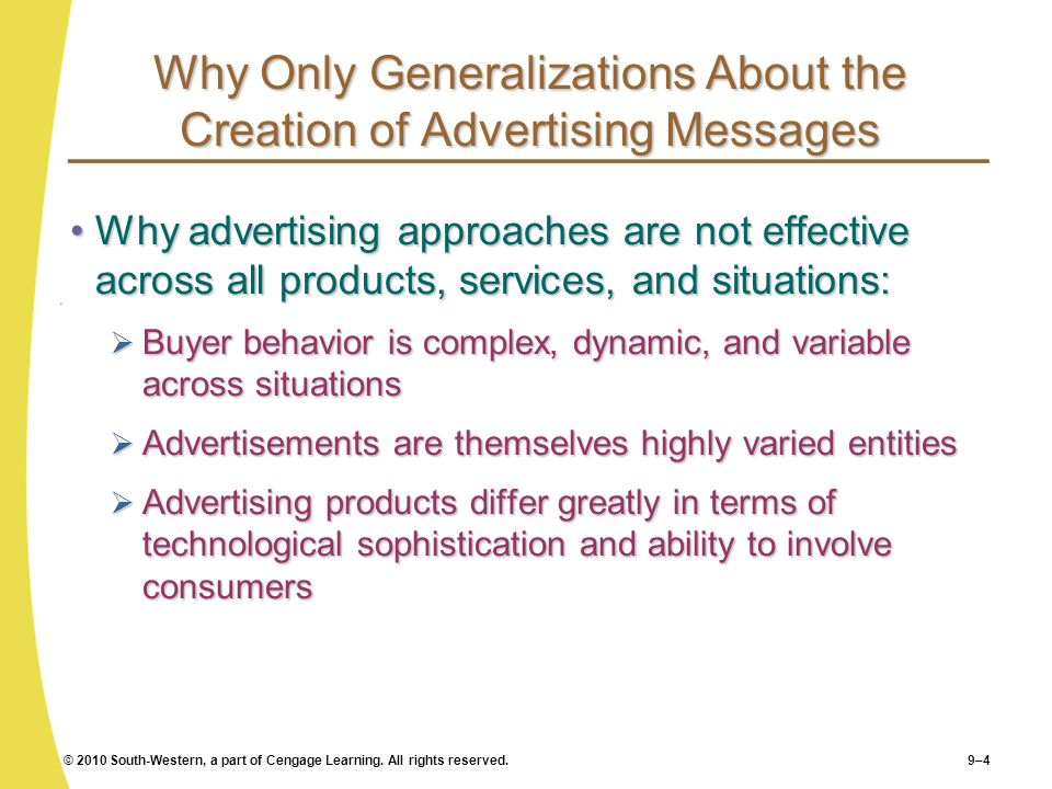 Why Only Generalizations About the Creation of Advertising Messages