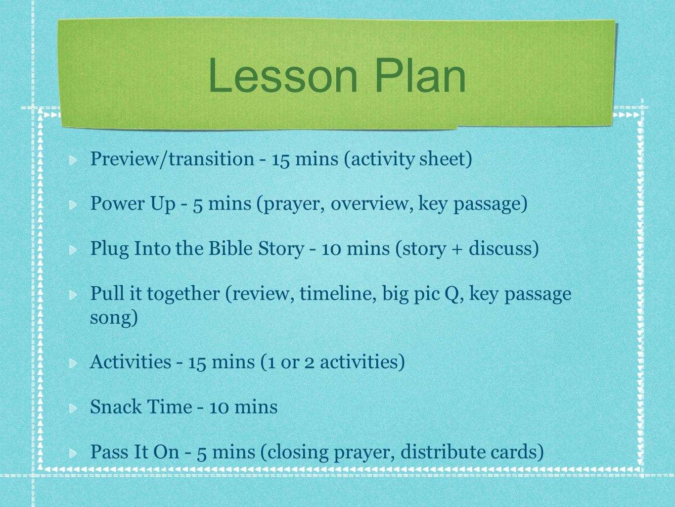 Lesson Plan Preview/transition - 15 mins (activity sheet)