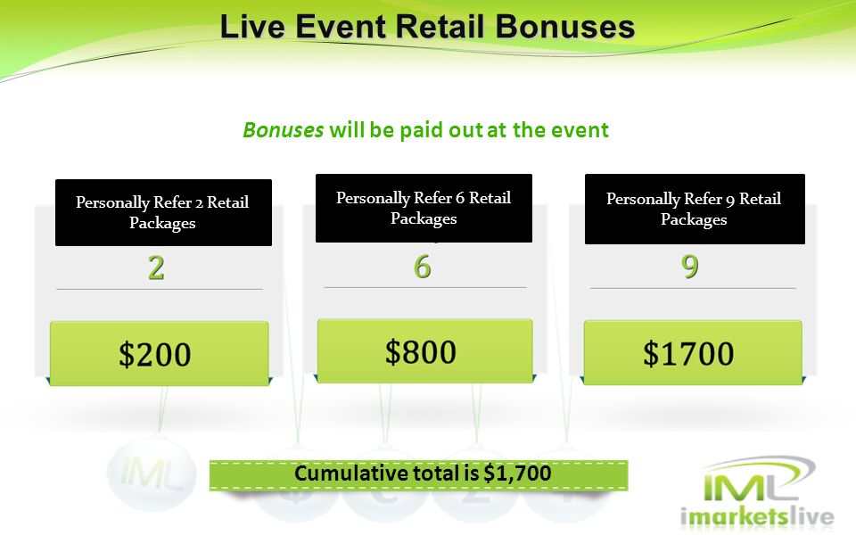 Live Event Retail Bonuses Bonuses will be paid out at the event