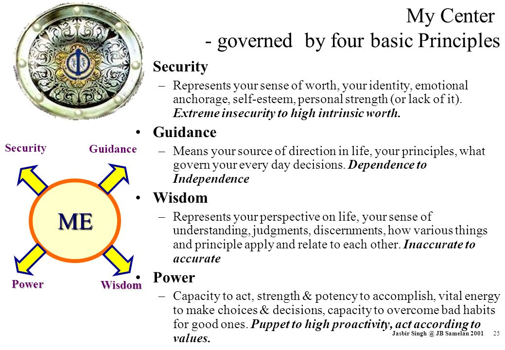 ME My Center - governed by four basic Principles Security Guidance