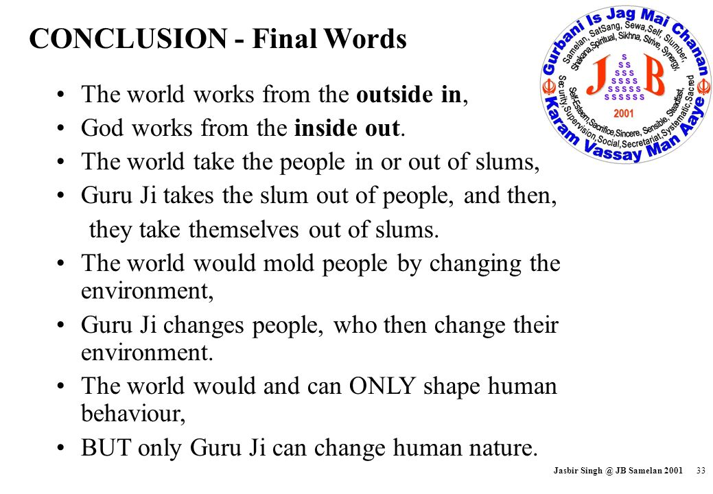 CONCLUSION - Final Words