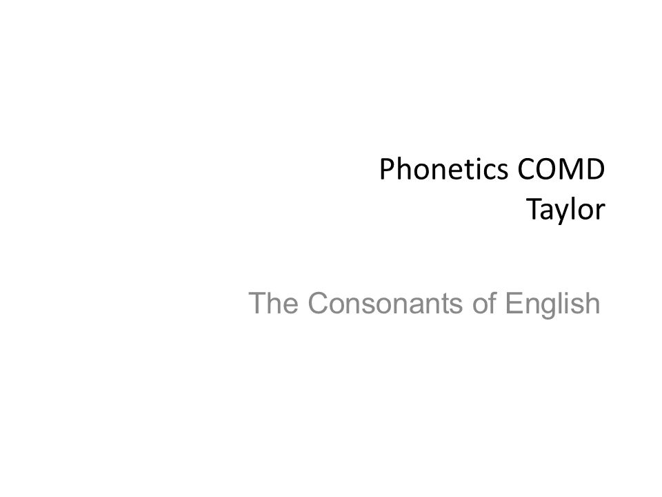 The Consonants of English
