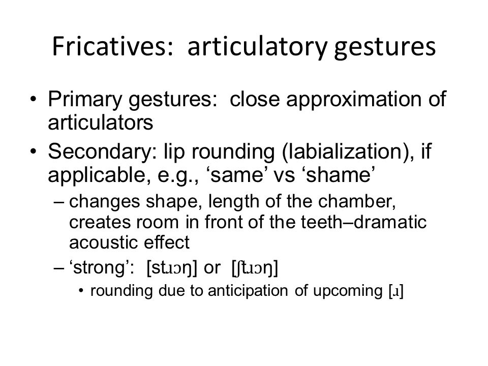 Fricatives: articulatory gestures