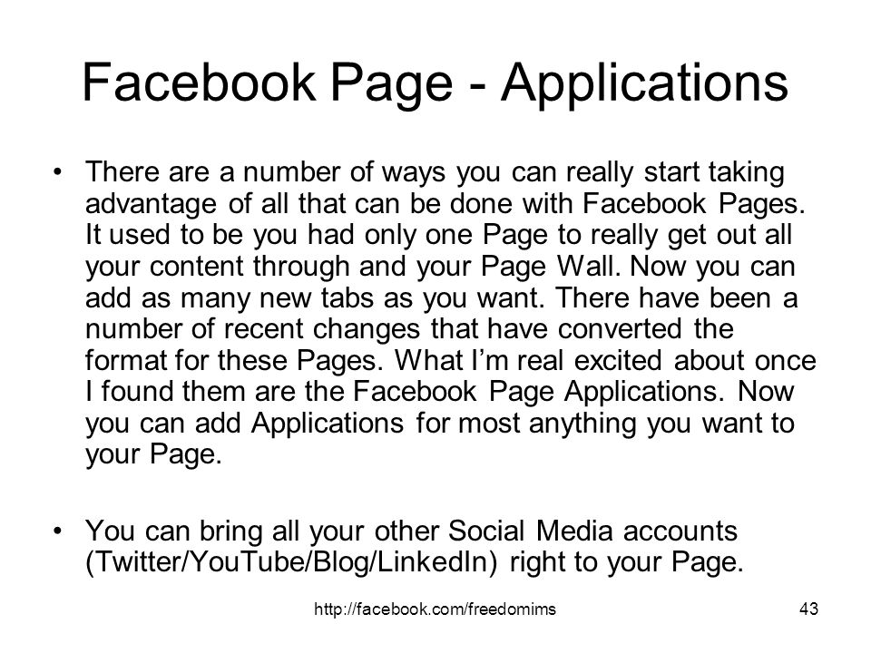 Facebook Page - Applications