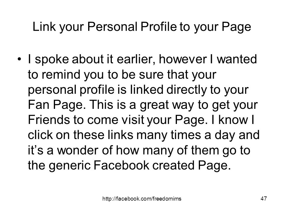 Link your Personal Profile to your Page