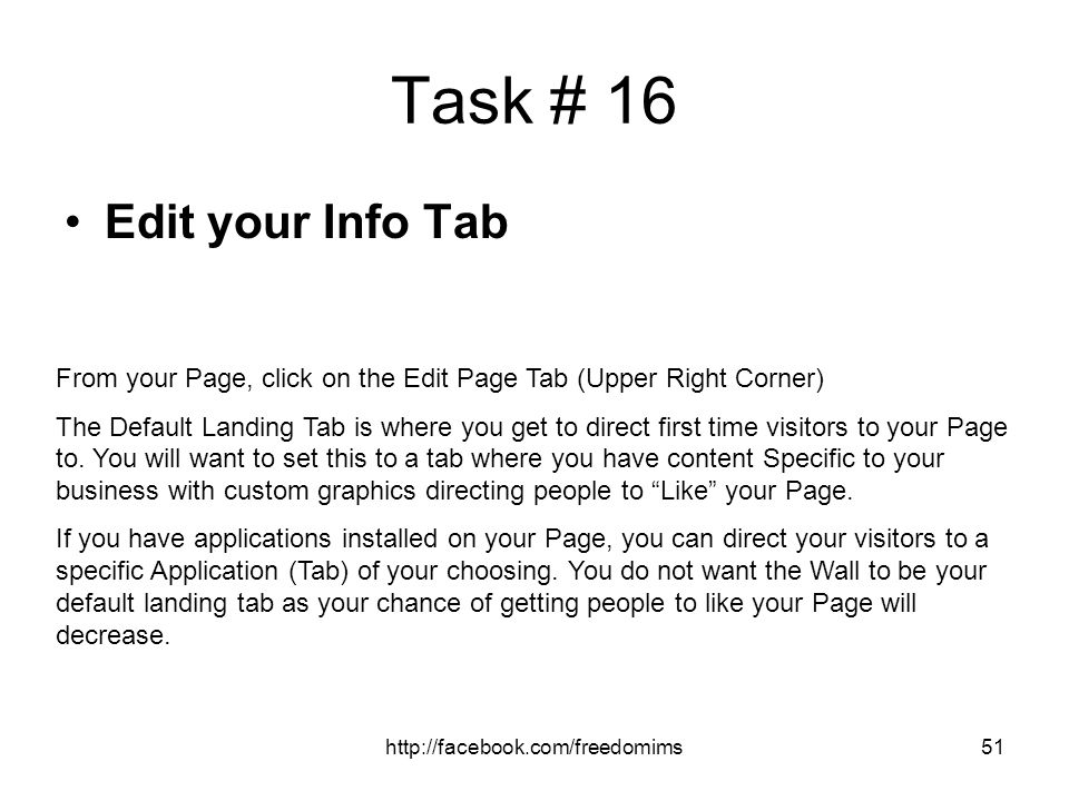 Task # 16 Edit your Info Tab