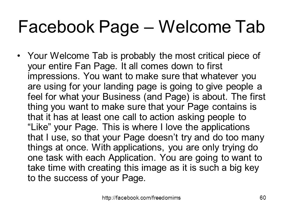 Facebook Page – Welcome Tab