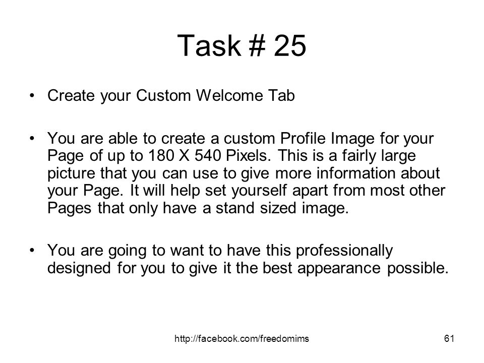 Task # 25 Create your Custom Welcome Tab
