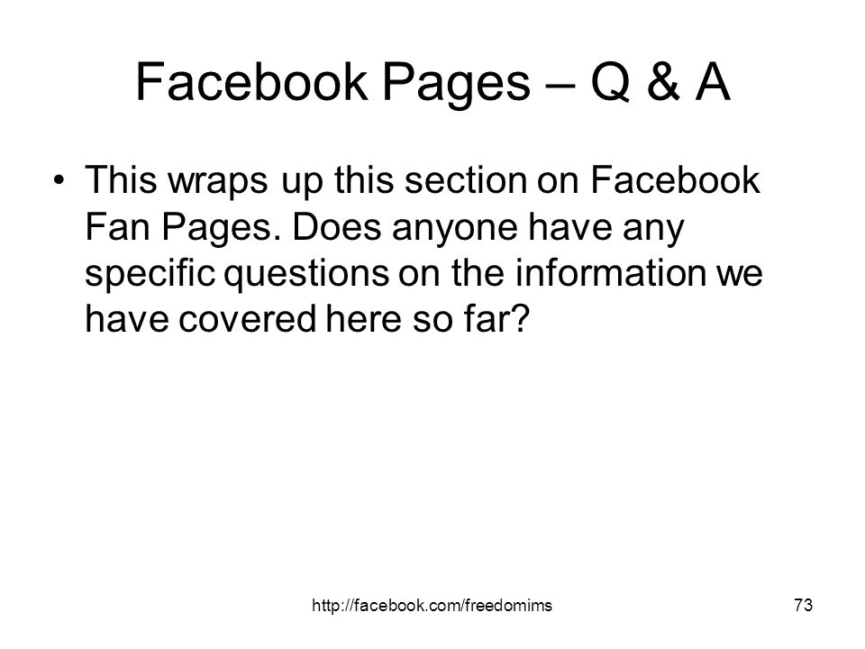 Facebook Pages – Q & A