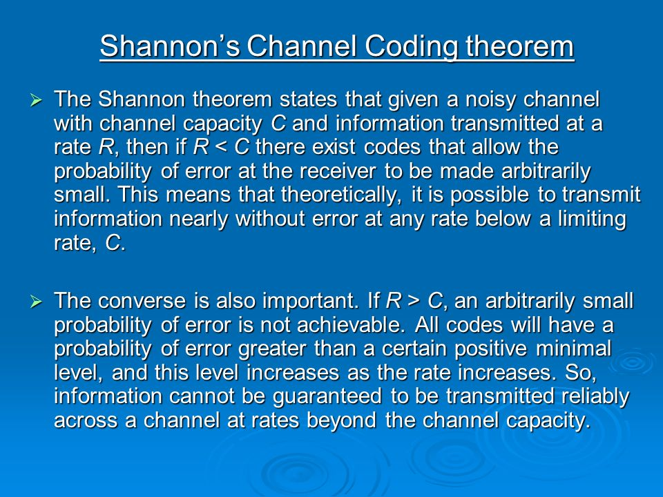 Shannon's Channel Coding theorem