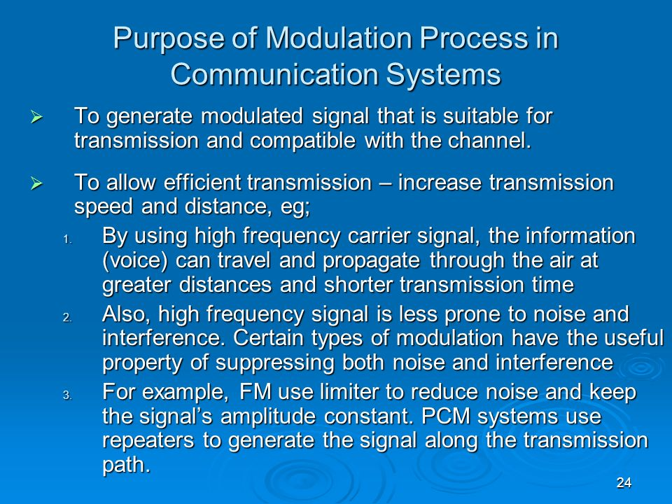 Purpose of Modulation Process in Communication Systems