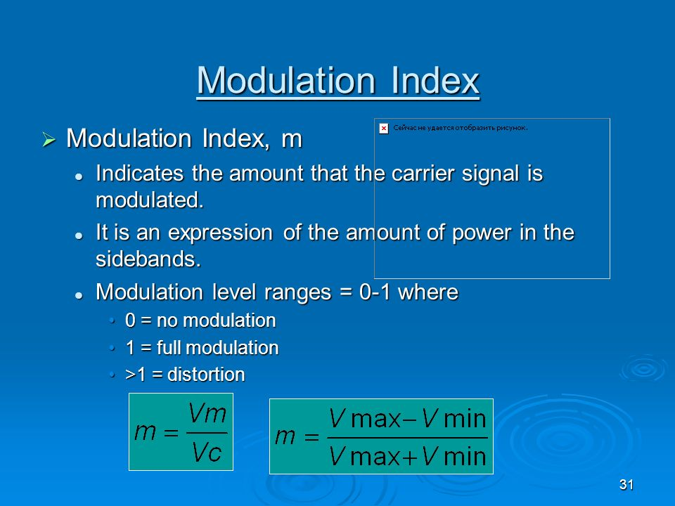 Modulation Index Modulation Index, m