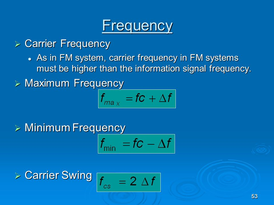 Frequency Minimum Frequency Carrier Swing Carrier Frequency