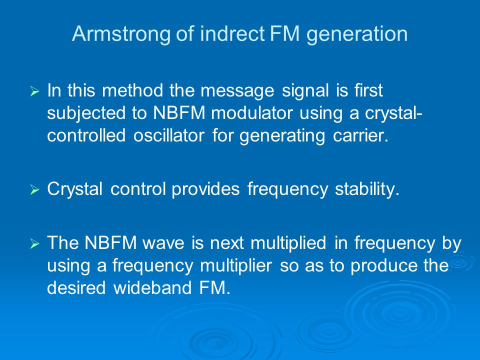 Armstrong of indrect FM generation