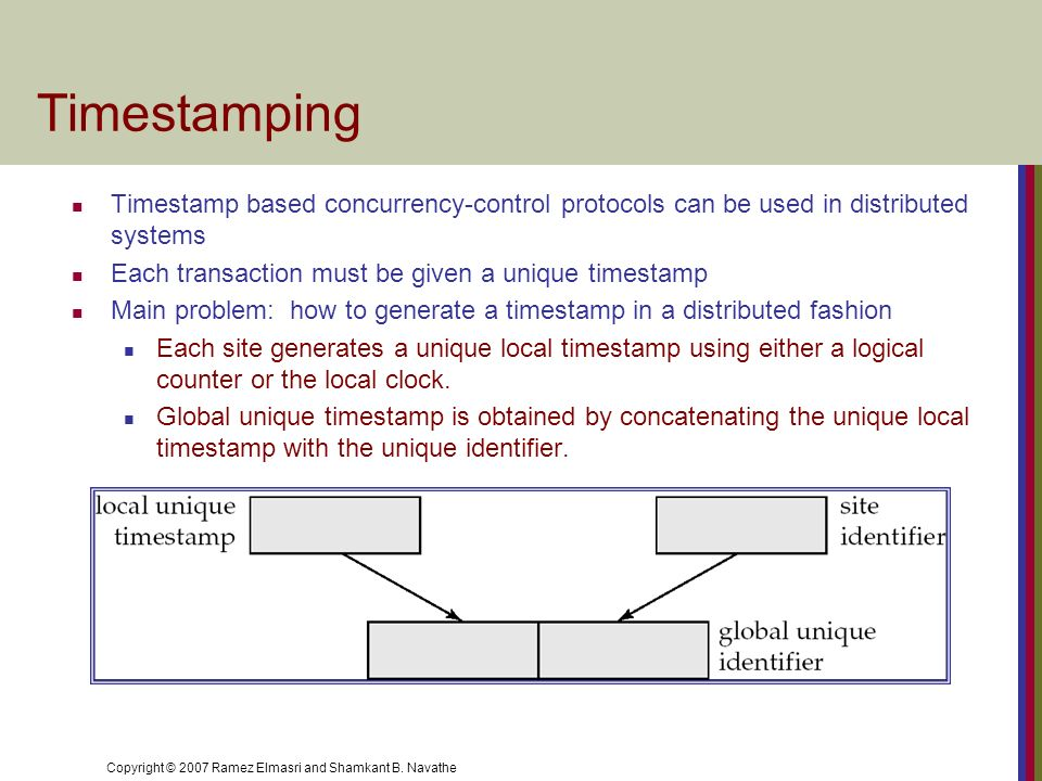 Timestamping Timestamp based concurrency-control protocols can be used in distributed systems. Each transaction must be given a unique timestamp.