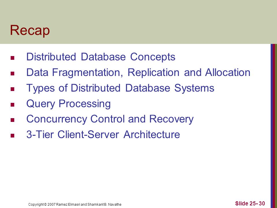 Recap Distributed Database Concepts