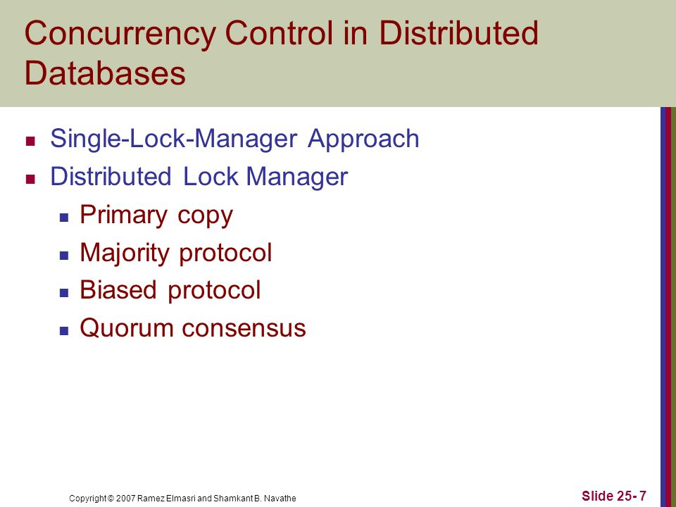 Concurrency Control in Distributed Databases