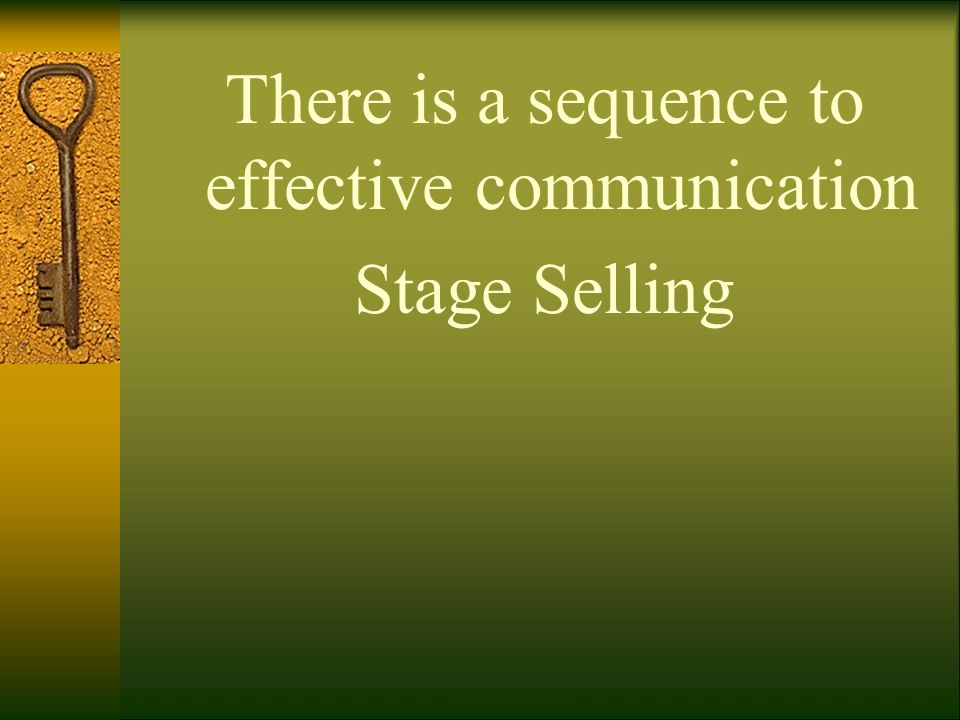 There is a sequence to effective communication