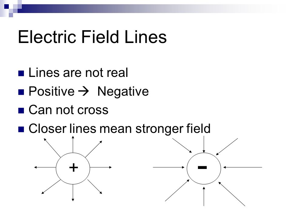 - Electric Field Lines + Lines are not real Positive  Negative