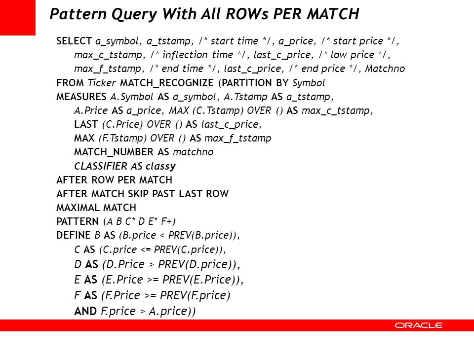 Pattern Query With All ROWs PER MATCH