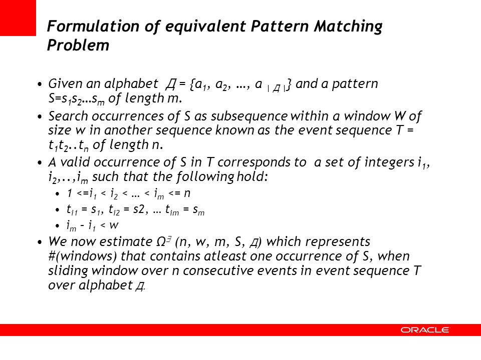 Formulation of equivalent Pattern Matching Problem