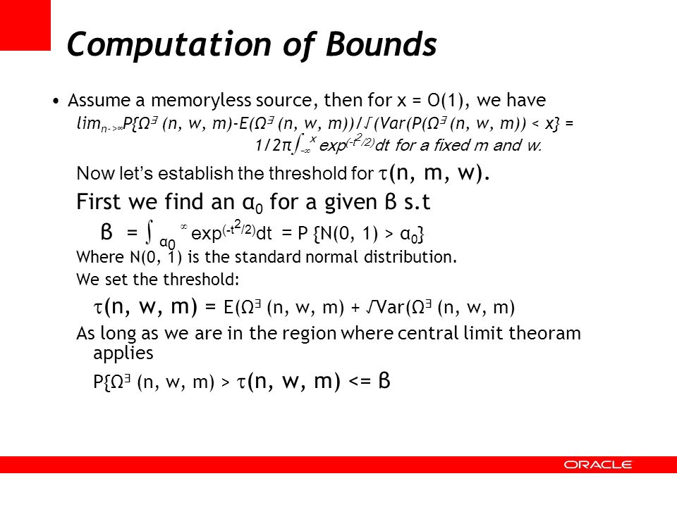 Computation of Bounds First we find an α0 for a given β s.t