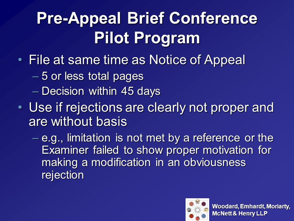 Pre-Appeal Brief Conference Pilot Program