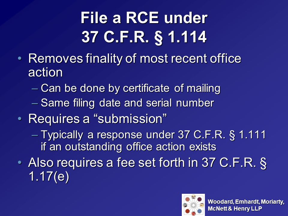 File a RCE under 37 C.F.R. § Removes finality of most recent office action. Can be done by certificate of mailing.