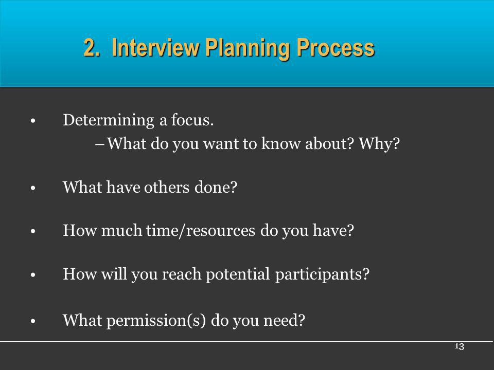 2. Interview Planning Process