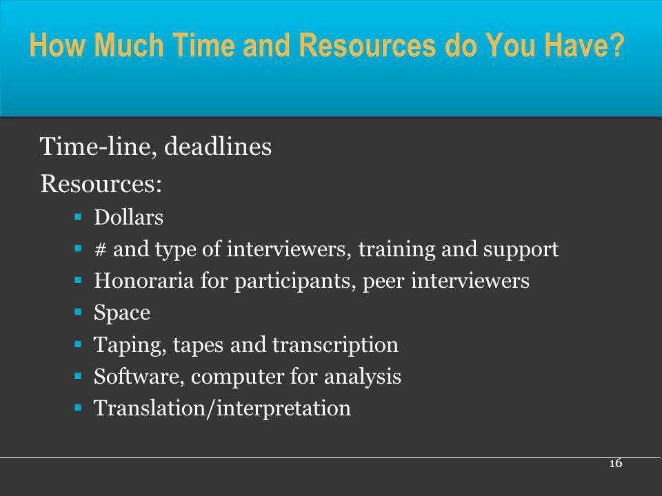 How Much Time and Resources do You Have