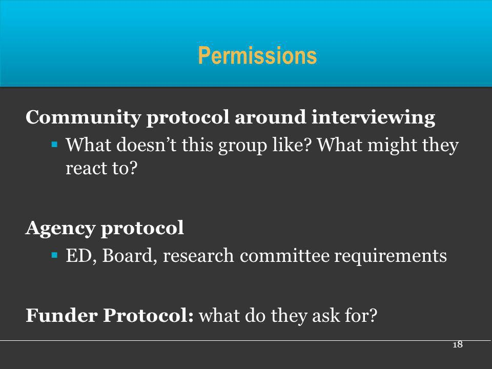 Permissions Community protocol around interviewing