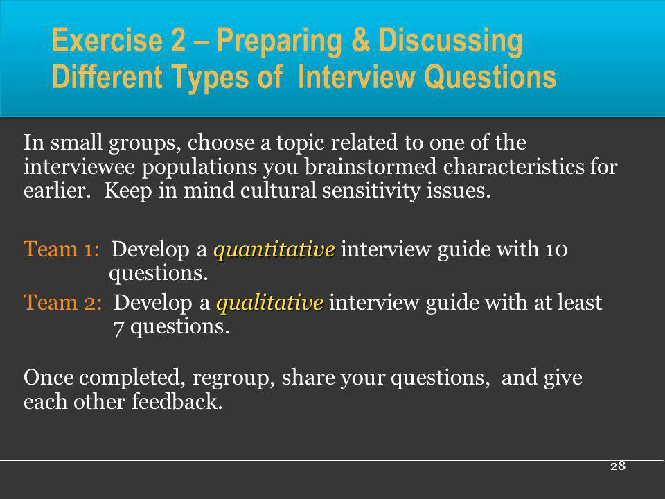 Exercise 2 – Preparing & Discussing Different Types of Interview Questions