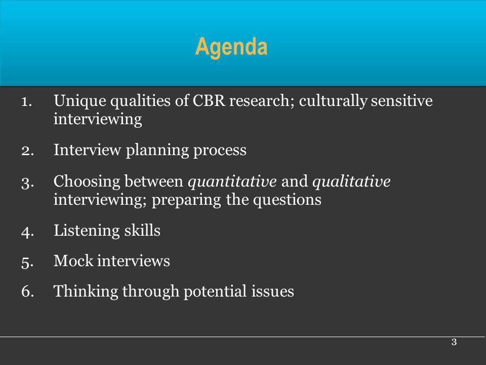 Agenda Unique qualities of CBR research; culturally sensitive interviewing. Interview planning process.