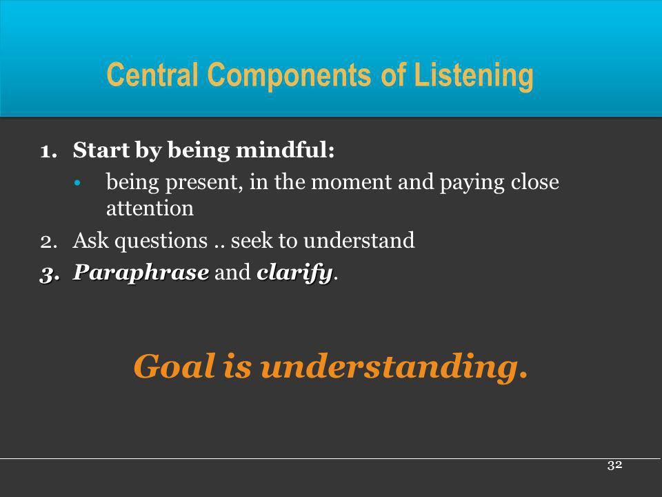 Central Components of Listening