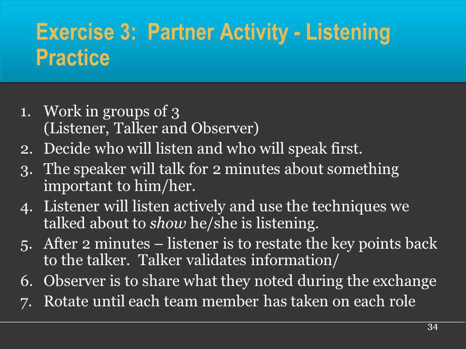Exercise 3: Partner Activity - Listening Practice