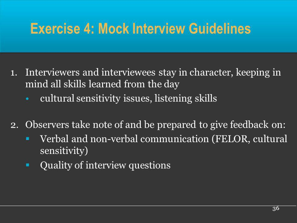 Exercise 4: Mock Interview Guidelines