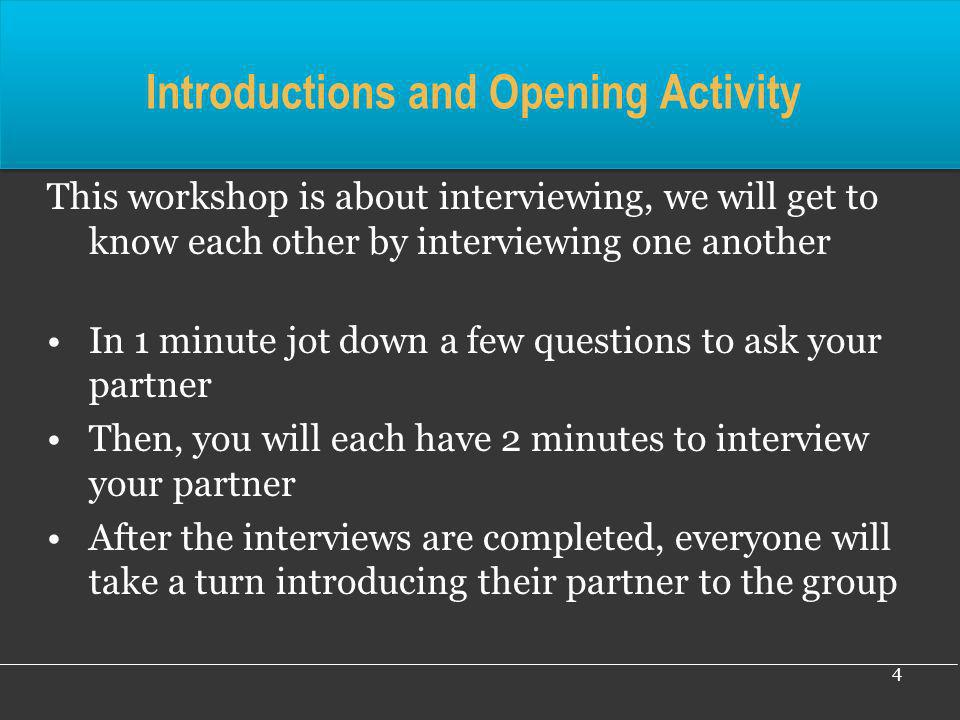 Introductions and Opening Activity